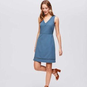 LOFT LACY V-NECK FLARE DRESS - DUSTY BLUE